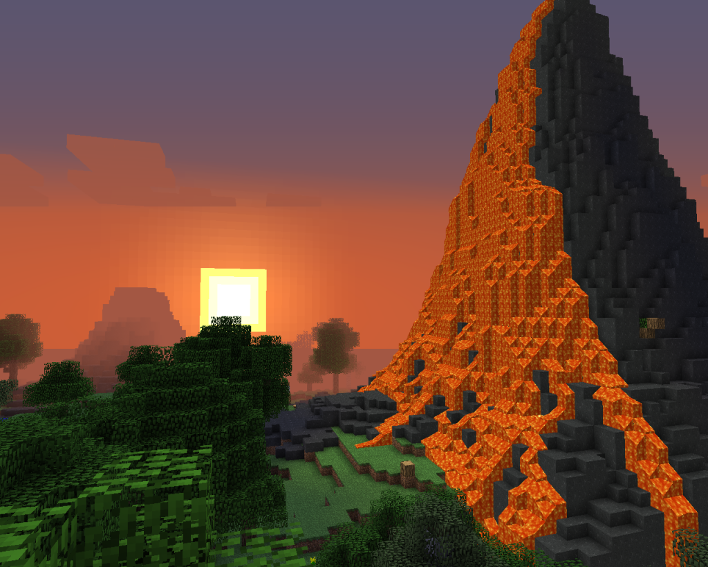 Screen shot of sunset and a volcano in Minecraft