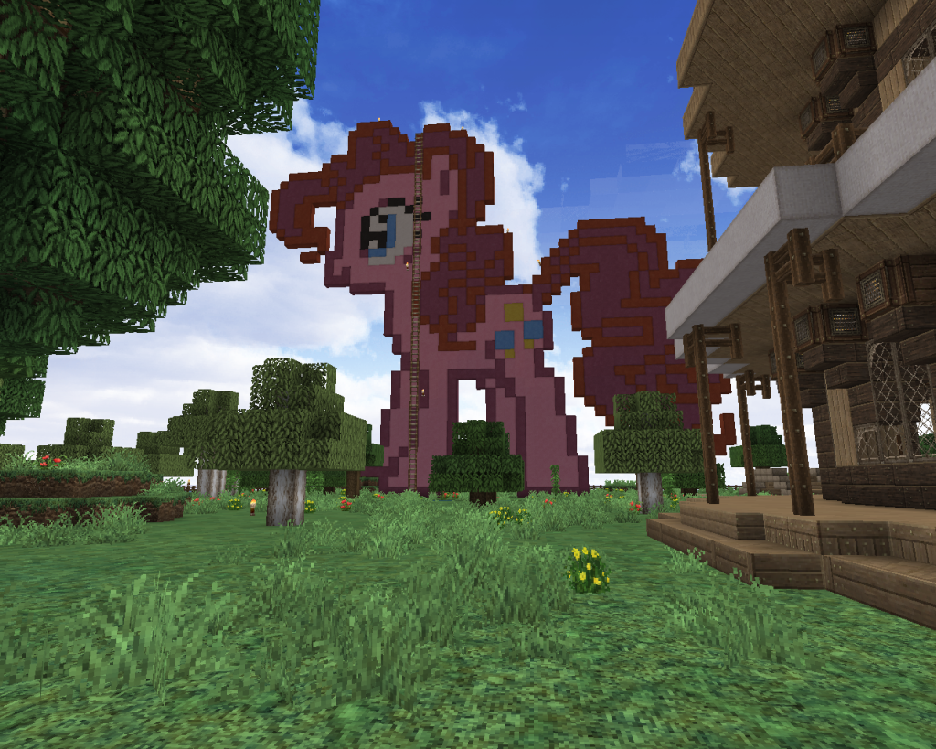 a pink pony statue in minecraft