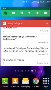 Task list on hand on my phone for tasks with upcoming due dates.