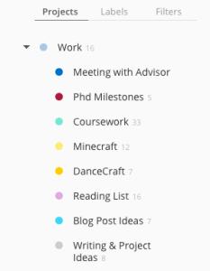 Work tasks broken down into their subcategories.