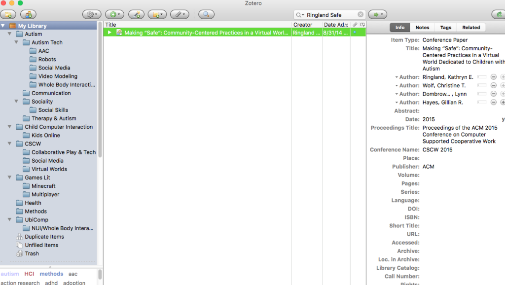 Zotero entry for the article I am going to read.