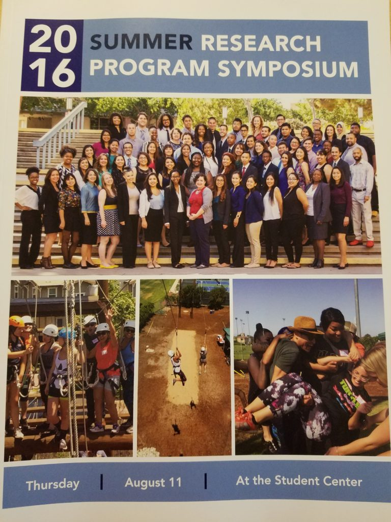 Cover of a booklet for the summer research symposium. Has images of students posing in a group and working together to finish an obstacle course.