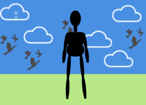 A shadow puppet with grass and clouds and birds flying in the background.