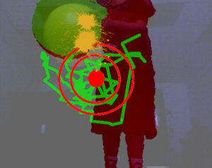 A silhouette of a boy's legs with a red target that has been painted over in green.