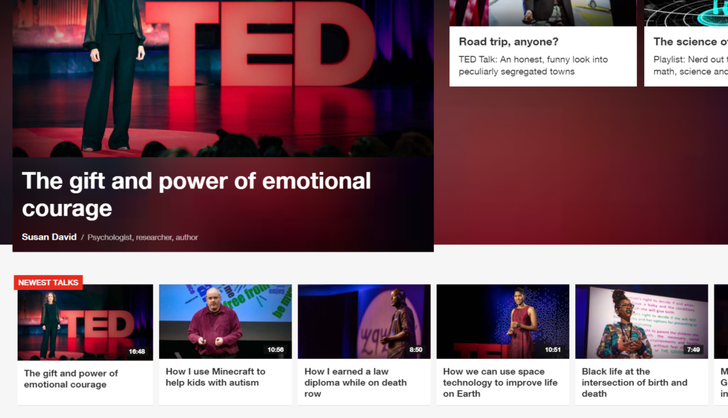 A screen shot of TED talk videos on the TED.com front page, with Stuart Duncan's talk in the bottom center.